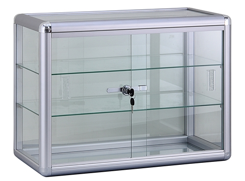 Glass Countertop Display. Comes with 2 glass shelves and a sliding glass door that locks. Shop all of our countertop displays at www.zingdisplay.com