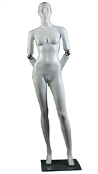 Abstract Facial Features Female Mannequin with Movable Elbow.