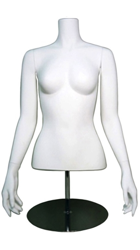 White Headless Female Torso Display Form with Arms at her Sides