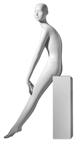 Female Mannequin in Matte White. Abstract Egghead.