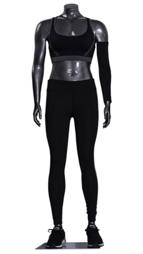 Athletic Headless Female Mannequin Glossy Gray