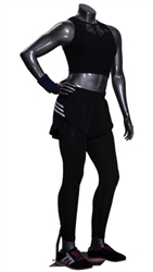 Athletic Headless Female Mannequin Glossy Gray - Right Hand on Hip