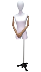 White Linen Female Dress Form with Pose-able Arms