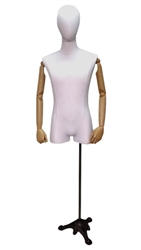 White Linen Male Dress Form with Pose-able Arms