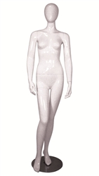 Glossy White Female Mannequin with Egghead