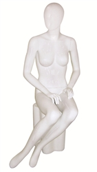 Seated Glossy White Female Mannequin with Egghead