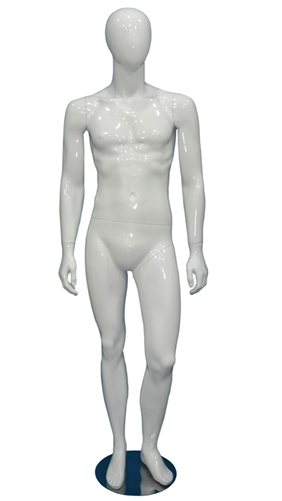 Egghead Male Mannequin Glossy White Left Leg Bent