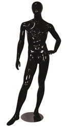 Egghead Male Mannequin Glossy Black Left Hand on Hip