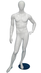 Egghead Male Mannequin Glossy White Left Hand on Hip