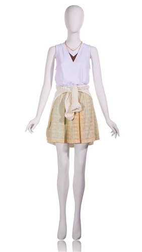 Female Egghead Mannequin in Matte White with arms at sides in a straight on pose