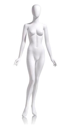 Female Egghead Mannequin in Matte White with arms at sides in a straight on pose with her left leg slightly bent