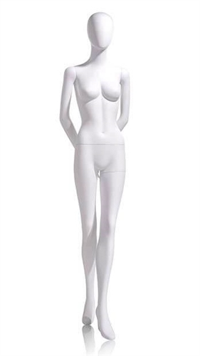 Female Egghead Mannequin in Matte White with hands behind back and left leg forward