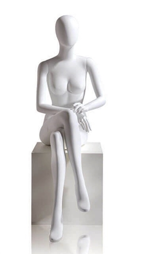 Female Egghead Mannequin in Matte White with arms in lap in a seated pose