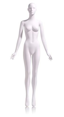 Female Abstract Egghead Mannequin in Matte White with arms at sides in a straight on pose