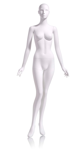 Female Abstract Mannequin in Matte White with arms at sides in a straight on pose with her left leg slightly bent
