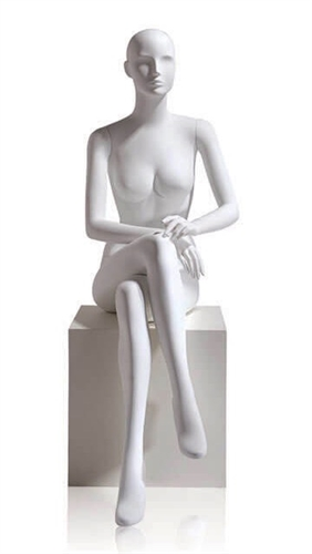 Female Abstract Egghead Mannequin in Matte White with arms in lap in a seated pose