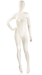 Matte White Mannequin Abstract Head Female Right Hand on Hip
