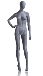 Slate Grey Mannequin Abstract Head Female Right Hand on Hip