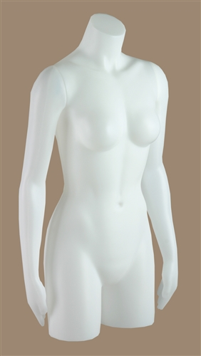 Freestanding female torso in white.  Can also be fitting with a flange so it can hang.