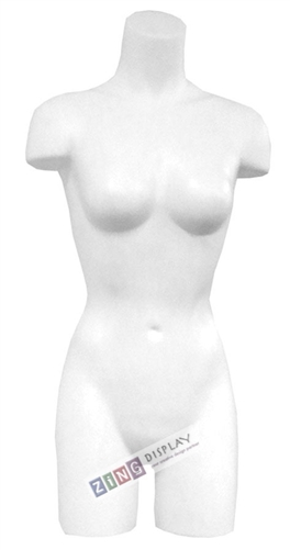 Unbreakable Plastic Female 3/4 Torso Form in White