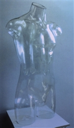 Clear Plastic Male Torso Form that stands alone or hangs from base