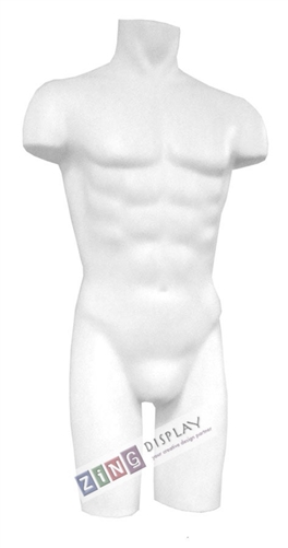 Unbreakable Plastic Male 3/4 Torso Form in White