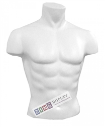 Unbreakable Plastic Male Torso Form in White