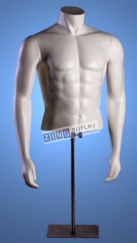Male Torso Form with Magnetic Arms Matte White