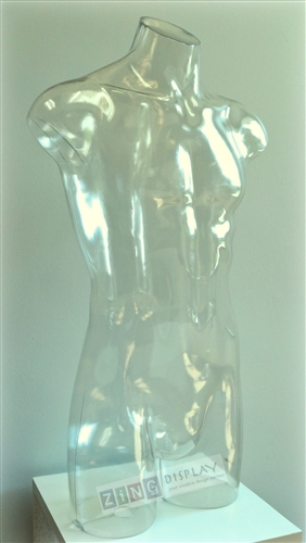 Clear Male Headless 3/4 Torso Display Form