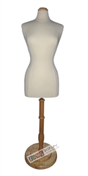 Female Dress Form Mannequin with Natural Wood Neck Block and Round Base