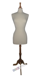 Female Dress Form Mannequin with Natural Wood Finial Neck Block and Tripod Base