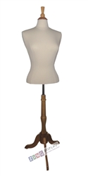 Female Shirt Form Mannequin with Natural Wood Finial Neck Block and Tripod Base