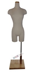 Female Torso Form with Natural Wood Neck Block and Base. Pinable for all of your sewing needs.
