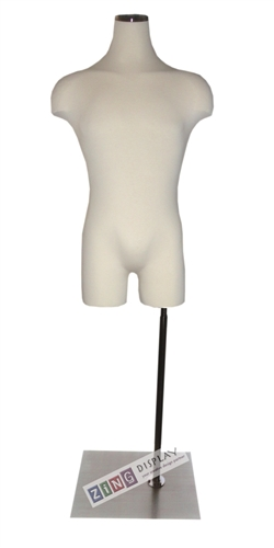 Pinable Male Torso Form Mannequin with Satin Nickel Flat Wood Neck Block and Rectangular Base