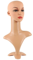 "Female Plastic Mannequin Head 20"" tall"