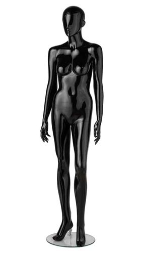 Glossy Black Fiberglass Female Mannequin - Arms Down