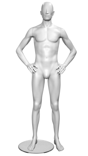 High End Contemporary Abstract Male Mannequin Hands on Hips - 6 Colors