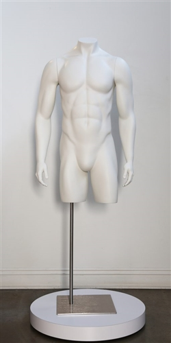 High End Fit Matte White Headless Male 3/4 Torso - Straight Arms