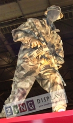 Posable Military Male Mannequin in Gray or Tan with Facial Features or Egghead from Zing Display