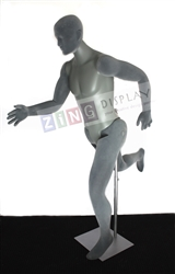 Posable Military Male Mannequin in Gray with Facial Features or Egghead from Zing Display