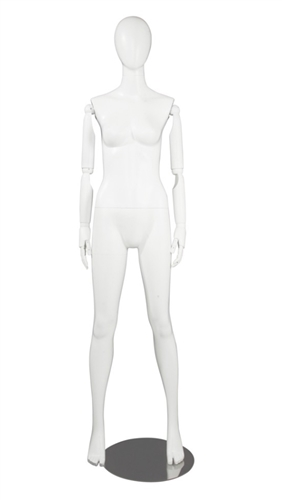 White Female Egghead Mannequin - Posable Wooden Arms - Great for a standout display item - From ZingDisplay.com