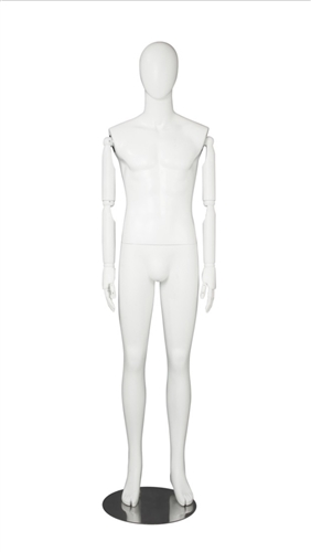 White Male Egghead Mannequin - Posable Wooden Arms - Great for a standout display item - From ZingDisplay.com