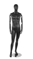 Black Male Egghead Mannequin - Posable Wooden Arms - Weight Back looks Great for a standout display item - From ZingDisplay.com
