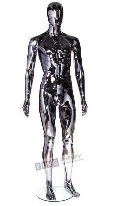 Unbreakable Black Chrome Male Egghead Mannequin