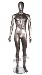 Unbreakable Metallic Pewter Male Egghead Mannequin