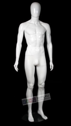 Unbreakable Glossy White Male Egghead Mannequin
