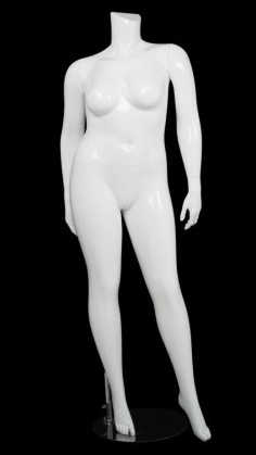 Glossy White  Female Plus Size 16 Mannequin - Left Leg Out