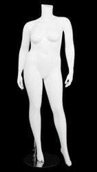 Matte White  Female Plus Size 16 Mannequin - Left Leg Out