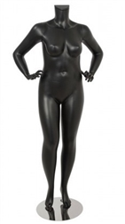 Matte Black Female Plus Size 16 Mannequin - Hands on Hips