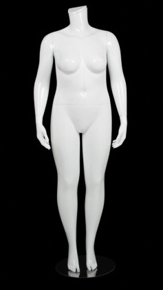 Glossy White  Female Plus Size 16 Mannequin - Changeable Heads